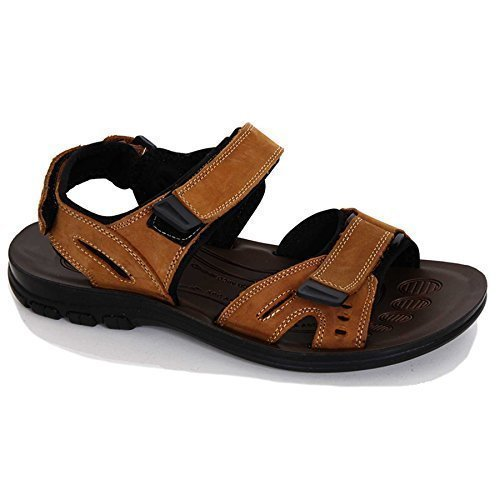 SAPPHIRE Men's Strap con Velcro regolabile per il massimo Comfort Shoes-Sandalo estivo da spiaggia Marrone (marrone)