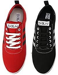BADLAV Men Red-Black(101+102) Casual Lace Up For Men Shoe And Combo Pack Of 2