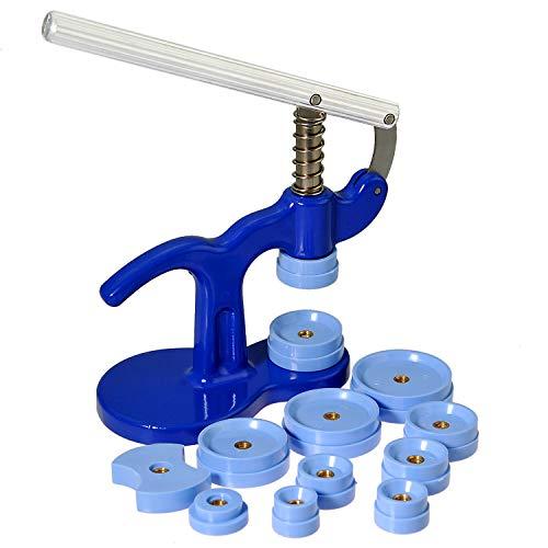 Einpresswerkzeug Uhrendeckelpresse Uhrendeckelschließer Uhren Gehäuseschließer mit 12 Druckplatten
