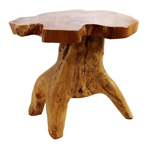 Mesa de madera de tronco de árbol tallado