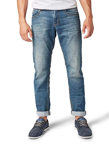 TOM TAILOR für Männer Jeanshosen Marvin Straight Jeans Bleached Blue Denim Tint, 36/34