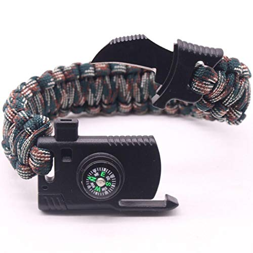 Gfone Überlebensarmband,Multifunctional 5-in-1 Survival Bracelet Armband mit Multitool - Kompass/Magnesium Rods Flintstone/Knife/Notpfeife/Fallschirmschnur - in Vielen Farben