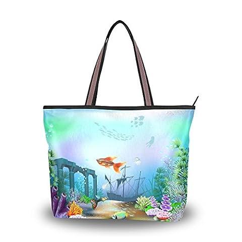 JSTEL Extra Large Handbags for Women,Marine Moti Ocean Dolphin Tropical