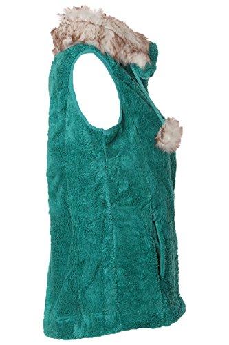 Gilet en fourrure en polaire avec col à fourrure & bommeln Vert - Vert