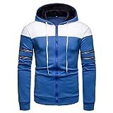 Amphia - Männer Hoodie - Streifen Jacke - Top und Reißverschluss, Männer Langarm Kapuzenbluse Patchwork ZipperStriped Hoodie Shirt Top(Blau,XXL)