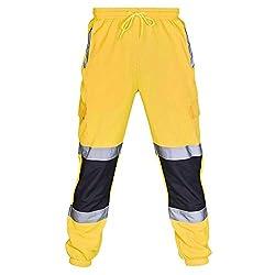 Yowablo Hosen Herren Straßenarbeiten Warnschutzanzüge Lässige Taschenarbeit Freizeithose (S,Gelb)