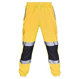 Pantalones Reflectantes Hombres Ropa de Trabajo en Carretera Pantalones Sueltos al Aire Libre Casual Pantalones Deportivos Entrenamiento Multi-Bolsillo Yvelands