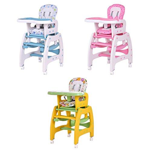 COSTWAY 3 IN 1 Kinderhochstuhl Hochstuhl Multi Kombihochstuhl Schaukelstuhl Treppenhochstuhl Babyhochstuhl (rosa)