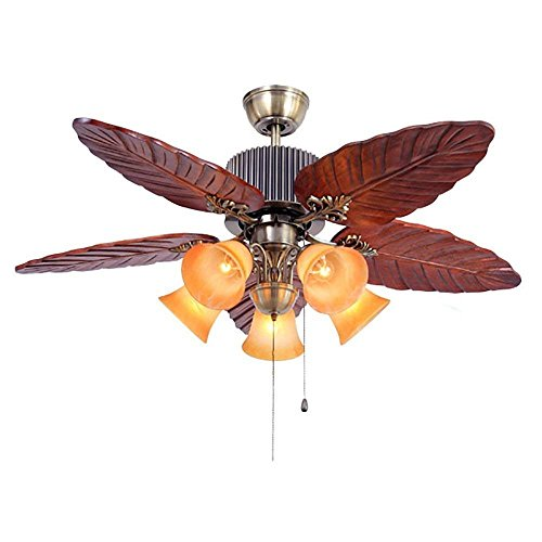 GAOLI Fan Kronleuchter 48 Zoll Deckenventilator Licht Nach Hause Retro-Restaurant mit Kordelzug Schalter Massivholz Antike Lampe 5 Lichter (Ganzen Haus, Deckenventilatoren)