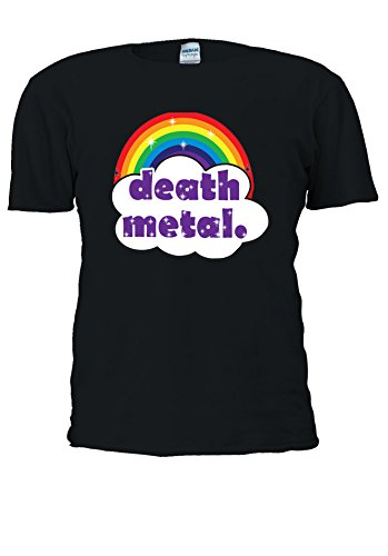Cute Death Metal arcobaleno Funny Swag - Uomo Donna Unisex Top T Shirt .Black X-Large