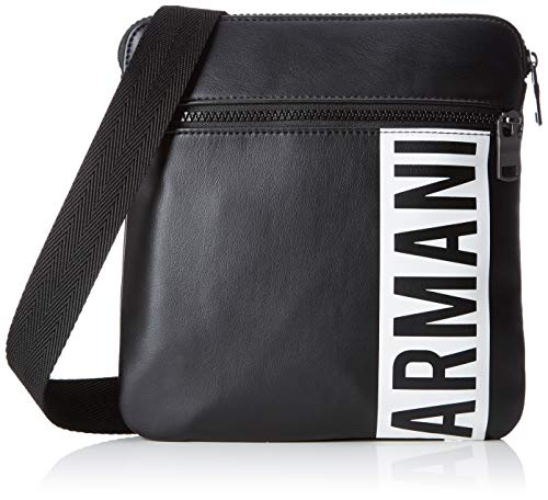 Armani Exchange - Small Flat Crossbody Bag, Bolso bandolera Hombre, Negro (Black),...