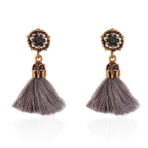 VJGOAL Damen Ohrringe, Mode Vintage-Stil Strass Kristall Quaste Hohle baumeln Ohrstecker Schmuck Frau Valentinstag Geschenk (Grau)