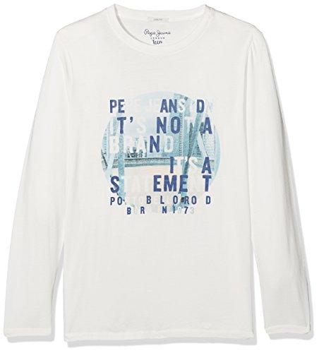 Pepe Jeans Jungen Long Sleeve Top Pb501399, Weiß (Mousse), 12/XS (Herstellergröße: 12/XS)