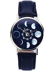 Culater Las mujeres Eclipse Lunar del cuero del patrón de cuarzo analógico reloj de pulsera (Negro)