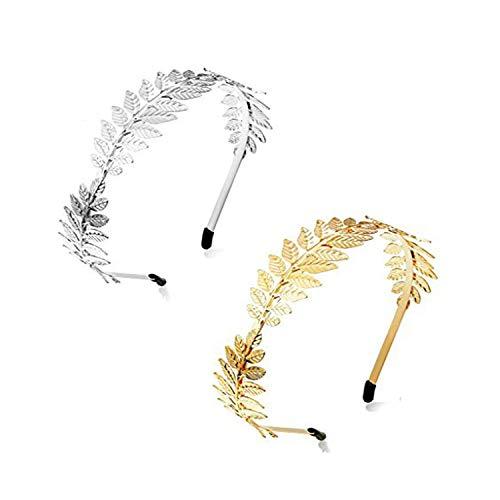 Finrezio 2 Stüke Haarspange Olive Blatt Göttin Römische Diademe Leaf Haarband für Frauen Kopfschmuck Hochzeit Chic Boho Haarreif Lorbeerkranz Haarschmuck Vintage...