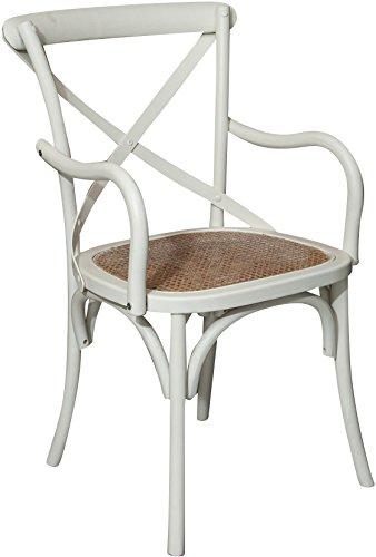Biscottini sedia con braccioli thonet in massello di frassino finitura bianca anticata e seduta in paglia di vienna 50x43x89 cm
