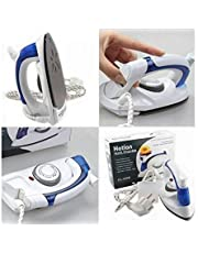 PETRICE Travel Iron Portable Powerful Variable Temperature Mini Electrical Steam Iron with Foldable Handle, Compact & Lightweight (White)