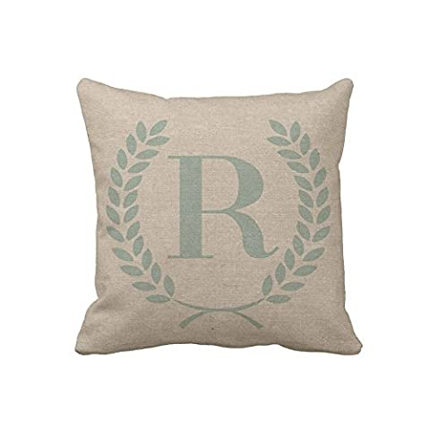 Personalized Throw Pillow Case Monogrammed Custom Initials Decorative Cushion Cover Zippered Accent Pillow Cover 18x18