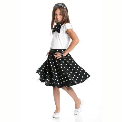 Kostümplanet® Rockn Roll Rock für Kinder schwarz mit passendem Halstuch Kinder Rock n Roll - Rock Und Roll Kostüm Kinder
