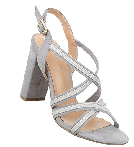 Damen Sandaletten Schuhe High Heels High Heels stiletto Hellgrau