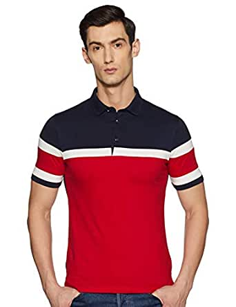 Qube By Fort Collins Men's Solid Regular Fit T-Shirt (1532FC_Red_M)