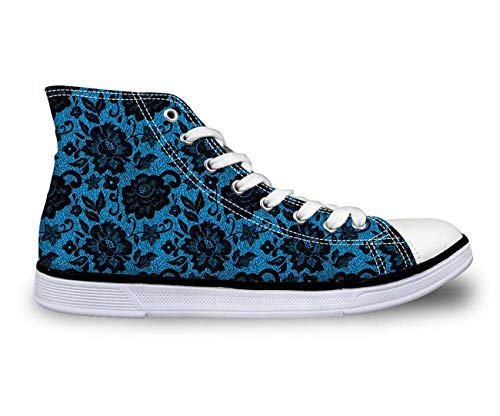 Ladies Classic Comfort Shoes High Top Canvas Casual Walking Sports Sneakers Size CA4684AK Dark Blue US 6 \u002F EU 36