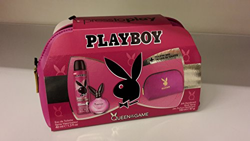 Playboy Queen of the Game Geschenkset + Kulturtasche (Eau de Toilette 40ml, Deodorant Body Spray 150ml)