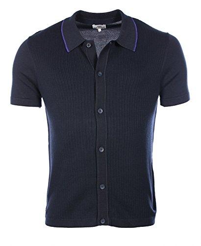 Ben Sherman Ss Button Through Polo, Felpa Uomo, Blue (Navy Blazer), Large