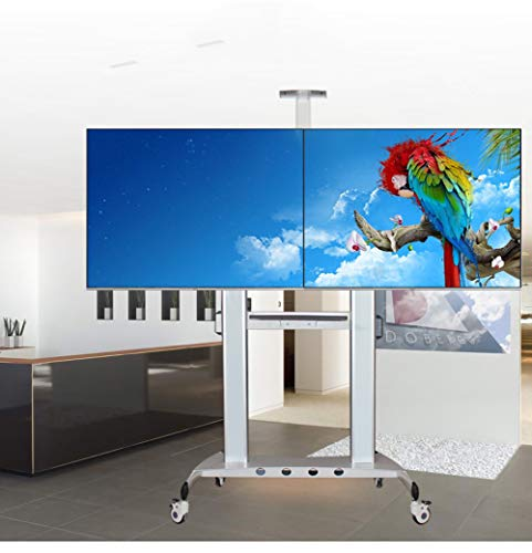 Mobile TV-Stand, 42-60 Inch Dual Screen 2 Screen Splicing Display 4k TV Universal Mobile Floor Stand Monitoring Stocks Display Teaching Office Video Engineering Special Cart 60 Universal Flat-panel Mount