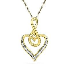 Idea Regalo - Sonia Jewels Solido 10K giallo oro rotondo bianco diamante dei canali ciondolo Infinito cuore (.07Cttw)