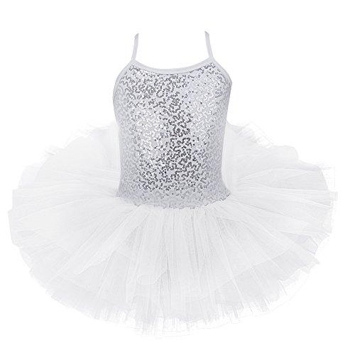 iEFiEL Mädchen Kleid Ballettkleid Kinder Ballett Trikot Ballettanzug mit Tütü Röckchen Pailletten Kleid in Weiß Rosa Türkis (116-122, Weiß) (Pailletten-kleid Für Mädchen)