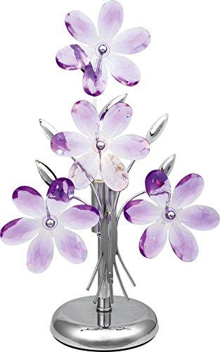 Nachttischleuchte mit Acryl Blüten in lila Nachttischlampe 1 flammig (Tischleuchte, Deko Leuchte, Deko Lampe, Schlafzimmer, Höhe 37 cm x Durchmesser 24 cm, Fassung E14) -