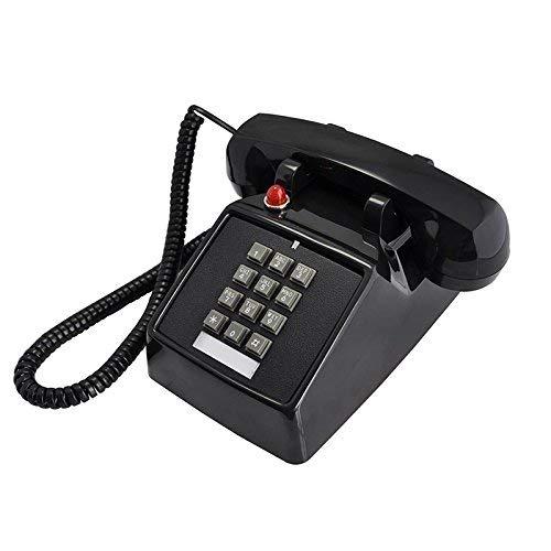 Pur-push-button (Health UK Telefon - Telefon Classic Square Turntable Schwarz ABS Push Button Home Festnetz Büro Fixed Landing Machine Metal Bell Willkommen (Farbe: Schwarz))
