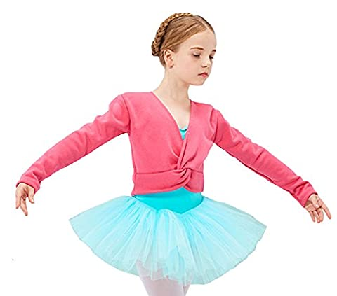 Cystyle Herbst Winter Plus Kaschmir Kinder Ballett Jacke Mädchen Ballettjacke Wickeljacke Bolero Jäckchen Schulterjacke Pullover für das Ballett Training (140CM/Körpergröße 124-128cm, Rosa 1)