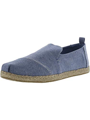 Womens Toms Chambray Deconstructed Espadrille Pumps in Blue Slub.