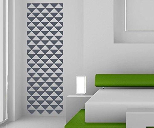 Wandtattoo Banner Wandbanner Retro Style Kreise Linien Quadrate Dreiecke Karos Säule Deko Streifen Wohnzimmer 1U266, Farbe:Silbergrau glanz;Höhe Banner:120cm