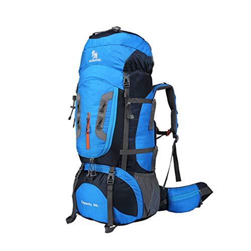 Trekkingrucksäcker Yhz@ Coco 80L professioneller Wanderrucksack, Abnehmbarer Schultergurt Wasserdichte Nylon Sporttasche, Outdoor-High-Performance-Männer und Frauen Rucksack (Farbe : Blue+Black)