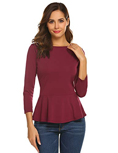 Finejo Damen Elegant Langarmshirt mit Rüschen Blusen V-Ausschnitt T-Shirt Casual Loose Fit Tops Freizeit Basic Oberteil Longsleeve (1-Weinrot, S)