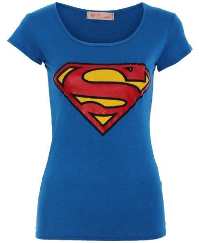 T-shirts Tops Femme Fille Logos Imprimé Superhéros Dessins Animés Superman Batman Tshirt (Superman)