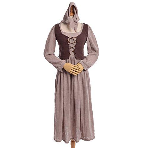 Femme Medievale Kostüm - BLESSUME Mittelalterlich Maid Kleid Weste Zwei Stück Bauernhof Maid Weibsbild Kostüm Cosplay Kleid Set (M)