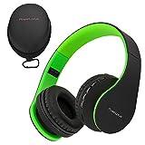 PowerLocus P1 - Auriculares Bluetooth inalambricos de Diadema Cascos Plegables, Casco Bluetooth con Sonido Estéreo con Conexión a Bluetooth Inalámbrico y Cable para Movil, PC, Tablet - Negro/Verde