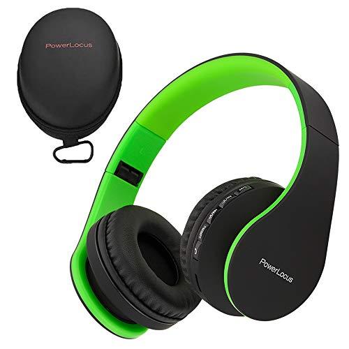 Powerlocus p1, cuffie bluetooth senza fili over-ear cuffie, stereo pieghevoli auricolari, wireless cuffie riduzione del rumore con microfono per iphone, samsung, lg, ipad, pc, ipod (nero/verde)
