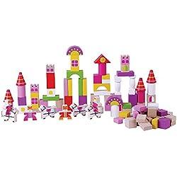 Juguete de madera de los niños apilando y bloques huecos, castillo rosado, 100 pedazos, por jumini ®