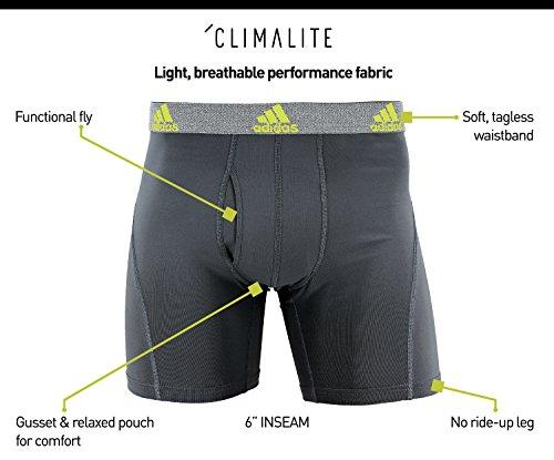 Adidas pantaloni corti, performance ClimaLite slip intimo (confezione da 2) Scarlet/Black