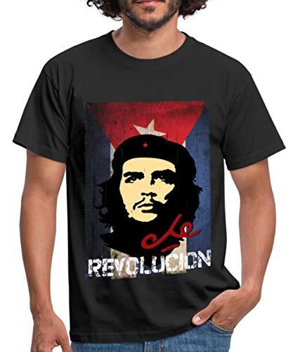 Spreadshirt Che Guevara Revolución Kubanische Flagge Männer T-Shirt, XL, Schwarz -