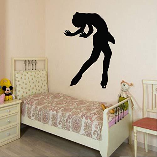 Wandtattoos Mädchen Eiskunstläufer Eislaufen Sport Menschen Home Vinyl Aufkleber Aufkleber Kinder Kindergarten Baby Room Decor Gym Wandkunst 82X56 cm