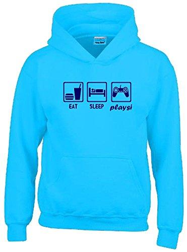 EAT SLEEP PLAYSI Kinder Sweatshirt mit Kapuze HOODIE sky-navy, Gr.164cm