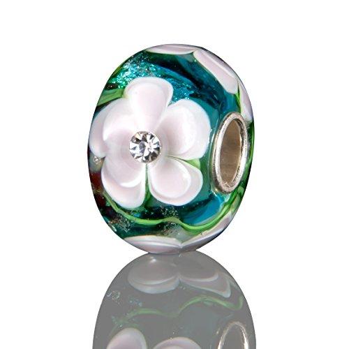 Andante-Stones 925 Sterling Silber Glas Bead Charm SEALIFE (Türkis-Beere mit perlenrosa Blumen und Zirkonia) Element Kugel für European Beads + Organzasäckchen (Capri Klee)