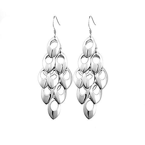 Boucles d'oreilles longues Argent 925 pendantes feuilles pour femme fille avec un écrin cadeau- Idée Cadeau Noël Anniversaire