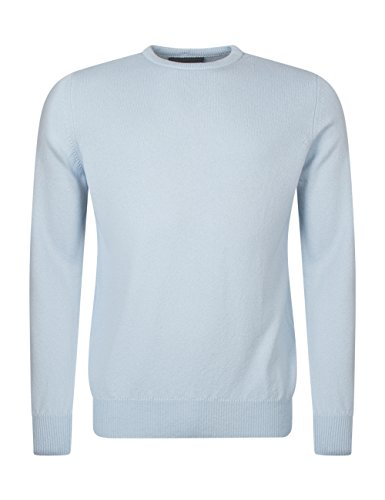 Great and British Knitwear. Herren 100% Lammwolle Pullover mit Rundhals-Ausschnitt, einfarbig. Made in Scotland-Clearwater-Large (Lammwolle Wolle)